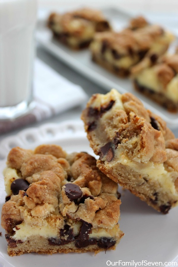 Chocolate Chip Cheesecake Bars- All the favorite flavors of chocolate chip cookie and cheesecake all in one fabulous dessert!