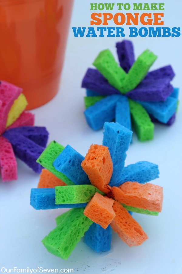 DIY Sponge Water Bombs- Super Simple and fun alternative to water balloons.