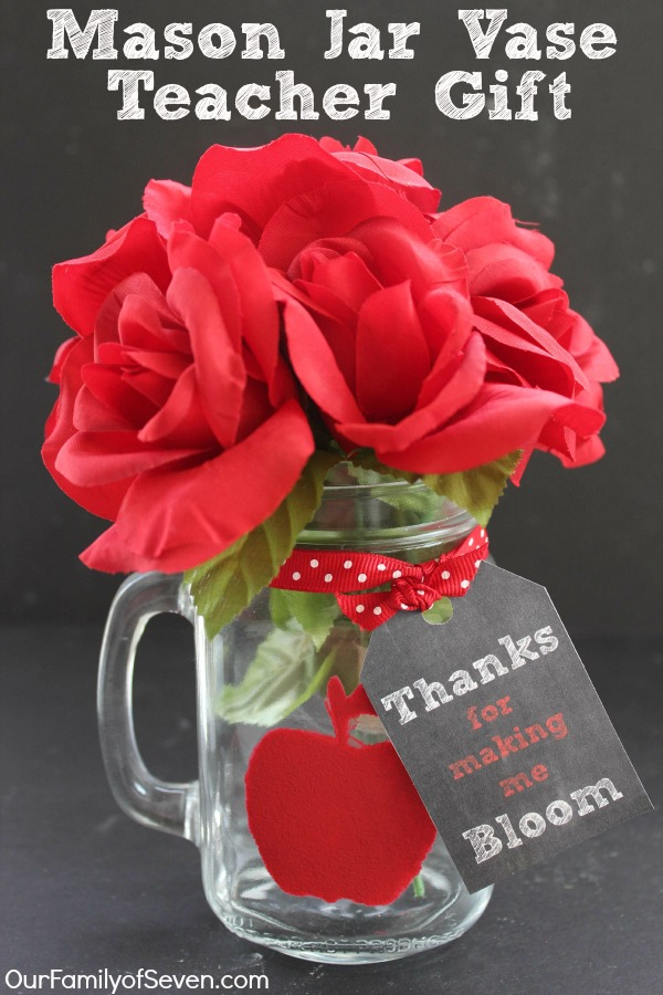 Thanks for making me Bloom Mason Jar Vase Teacher Gift with FREE Printable Tag and Stencil. Supplies can be found at the Dollar Store.