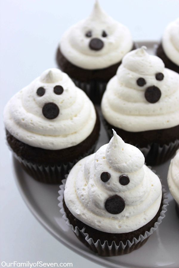 marshmallow ghost cupcakes will make for a super fun and super simple halloween dessert or