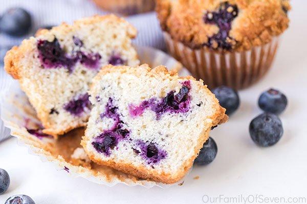 Blueberry muffins cut in half