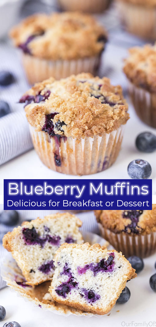 Long pin Blueberry Muffins Delicious for Breakfast or Dessert