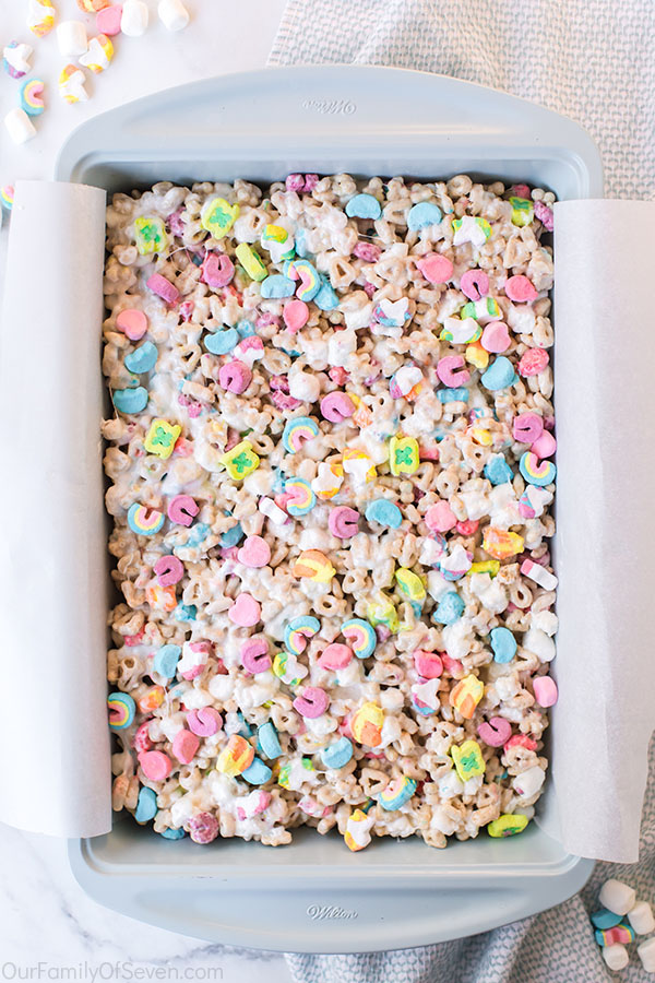 Pan with No Bake Cereal Bars with Lucky Charm Marshmallows
