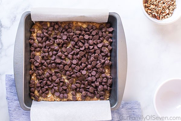 Chocolate chips added to bars