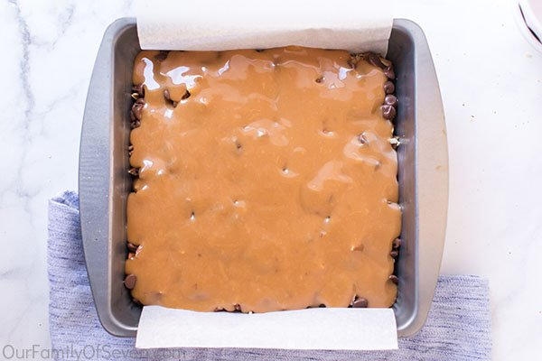 Caramel added to cookie bars