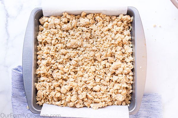 Crumb topping added to cookie bars