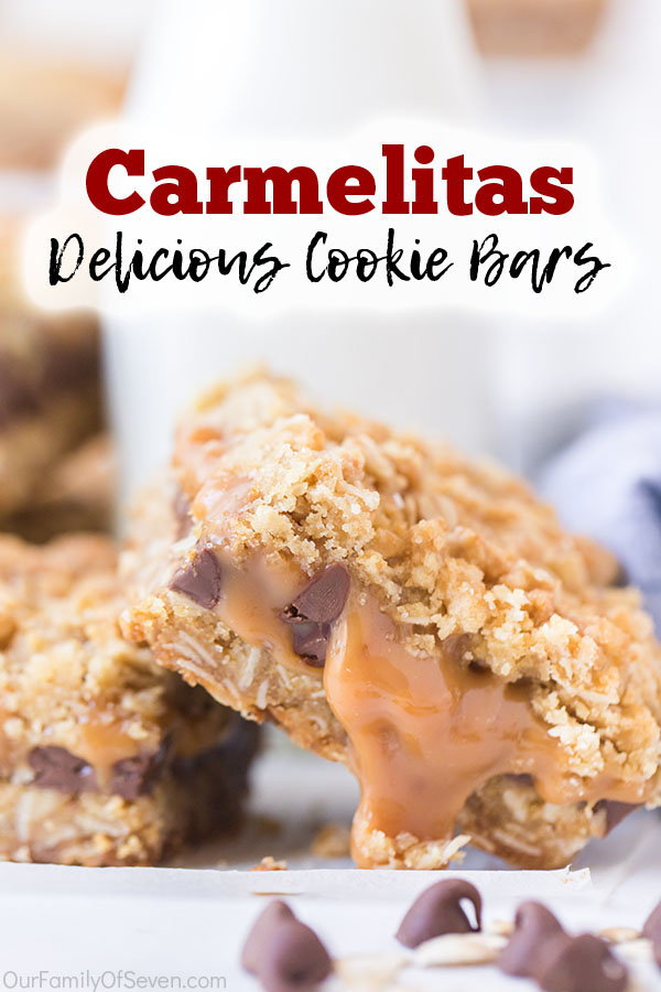 Text on image Carmelita Delicious Cookie Bars