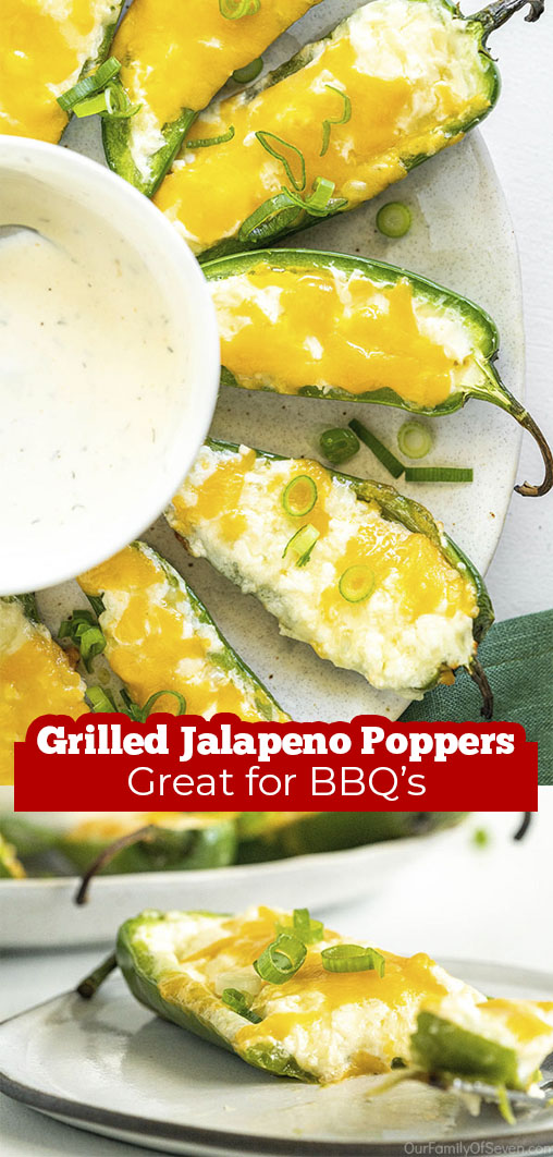 Long pin collage Text on image Grilled Jalapeno Poppers Great for BBQ's